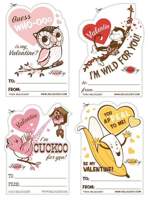 Hello Lucky Printable Valentines | via Fox & Brie