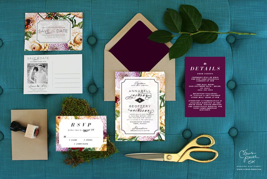 Dahlia Invitation Suite by Citrus Press Co. | via Fox & Brie